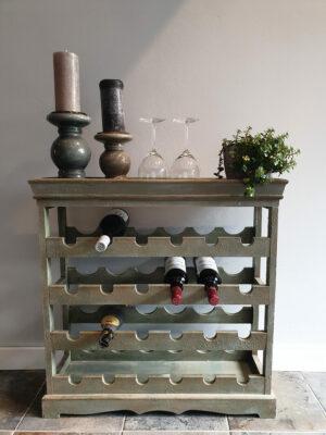 opgeknapt vintage wijnrek groen